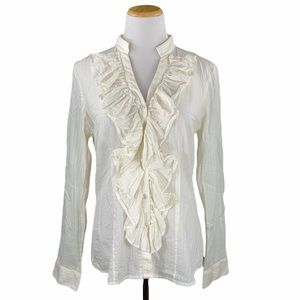 The Limited Cream Ruffled Front Button Down Shirt